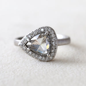 1.51ct salt & pepper diamond halo platinum ring
