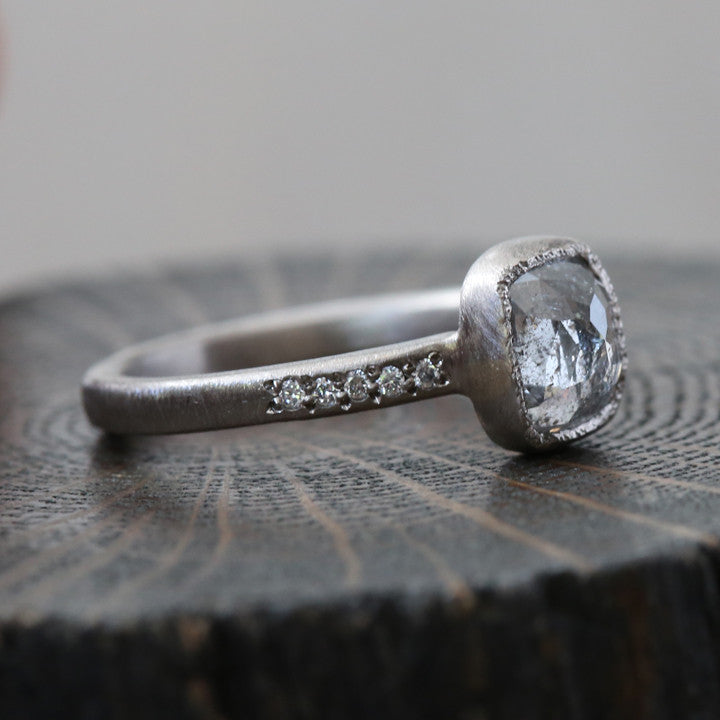1.35ct Icy grey diamond ring