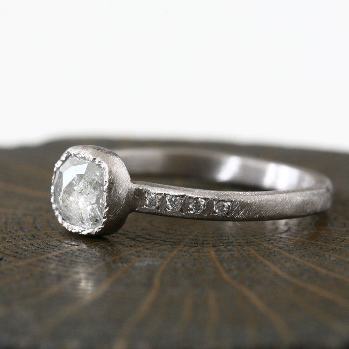 0.76ct  Icy grey diamond ring