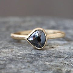 1.14ct natural black diamond ring