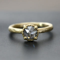 0.88ct round grey diamond ring