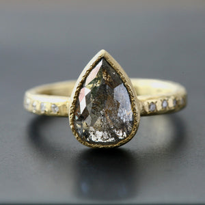 2.10ct translucent dark grey diamond ring