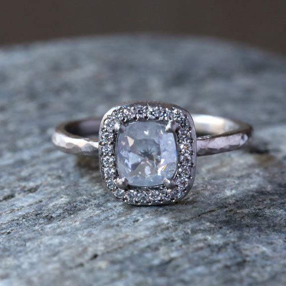 0.82ct Icy Grey diamond ring