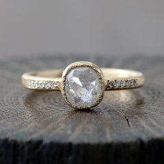 0.94ct icy grey diamond ring