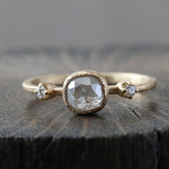 0.80ct square icy grey diamond ring