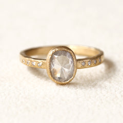 1.10ct milky grey diamond ring