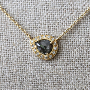 0.46ct dark grey diamond halo necklace