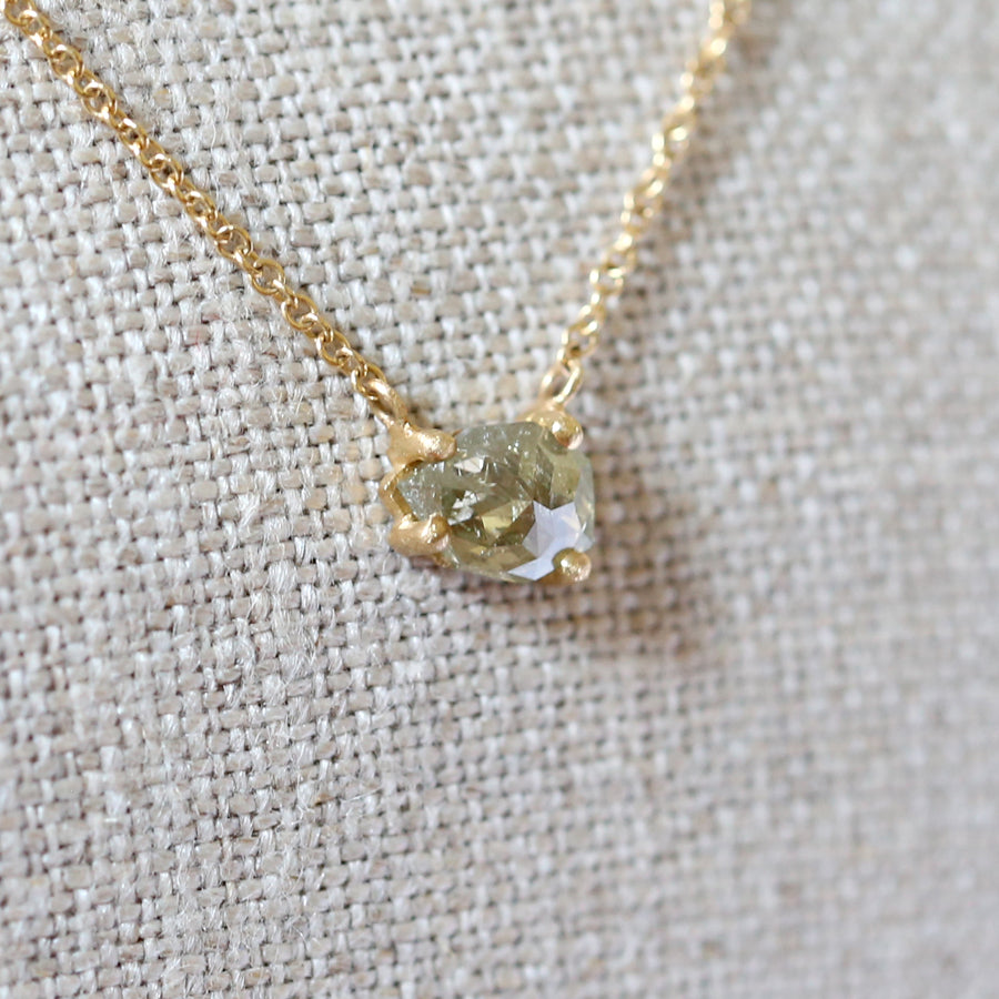 0.74ct pale yellow diamond necklace