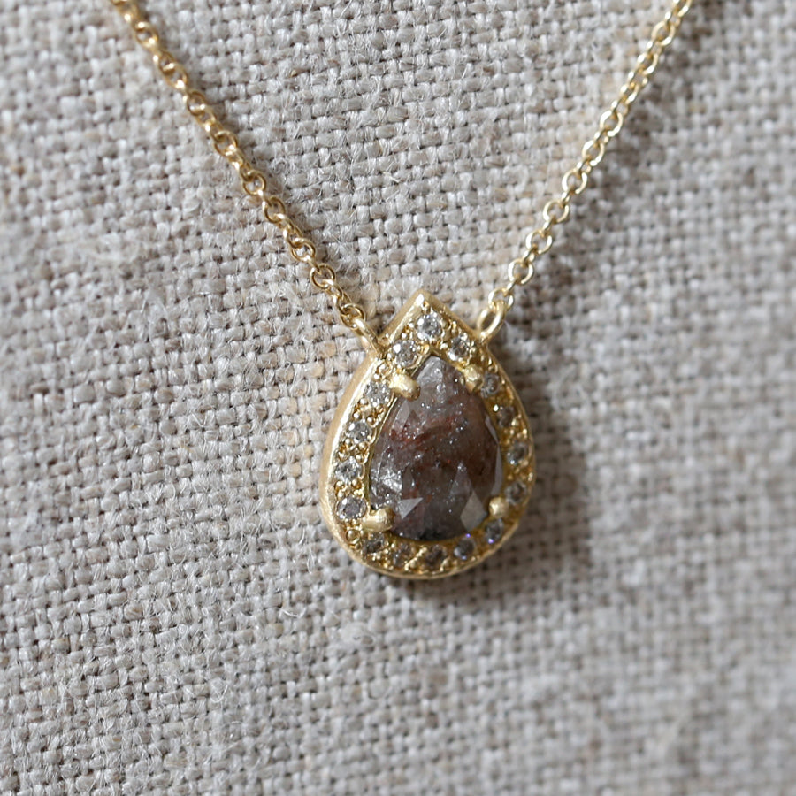 0.84ct dark brown diamond halo necklace