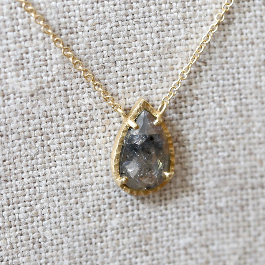 0.75ct dark grey diamond halo necklace