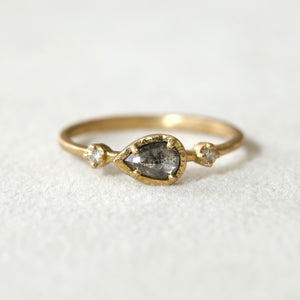 030ct dark grey diamond Muguet Ring
