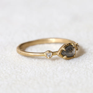 0.30ct natural black diamond Muguet Ring
