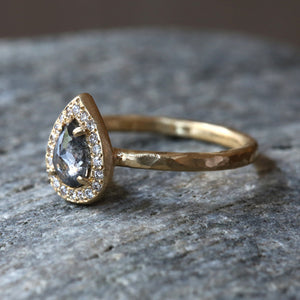 0.52ct dark grey diamond ring