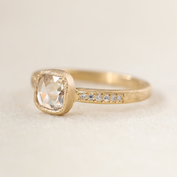 0.64ct rose cut diamond ring