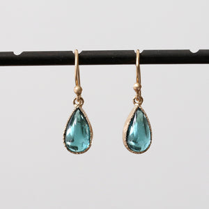 Blue green tourmaline earrings