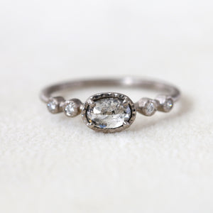 0.46ct salt & papper diamond Muguet Ring