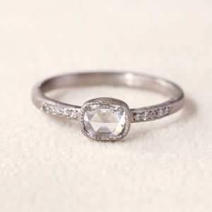 0.44ct rose cut diamond ring