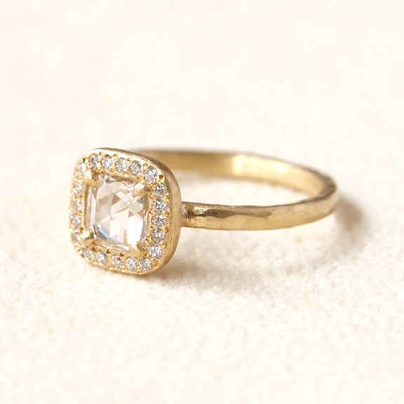 0.48ct rose cut diamond ring
