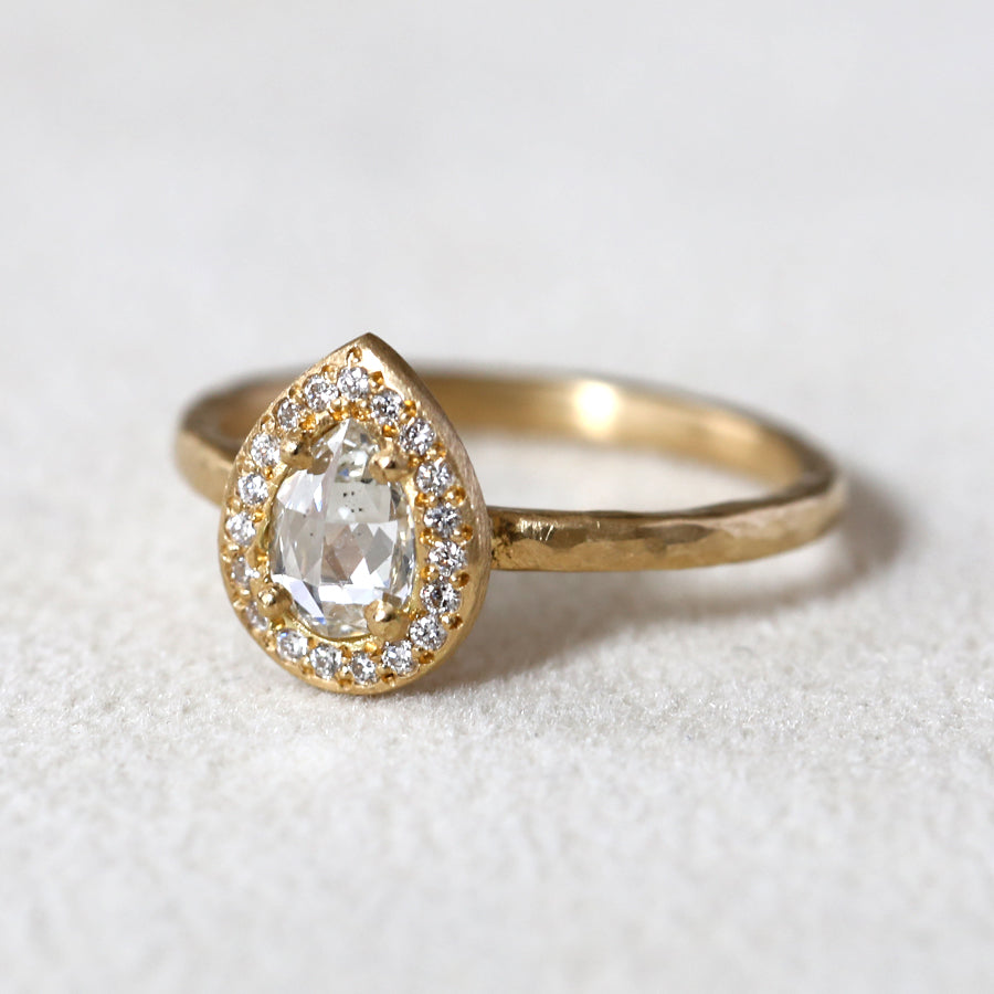 0.41ct colorless diamond halo ring