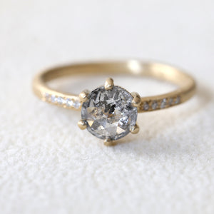 1.06ct salt & pepper diamond ring