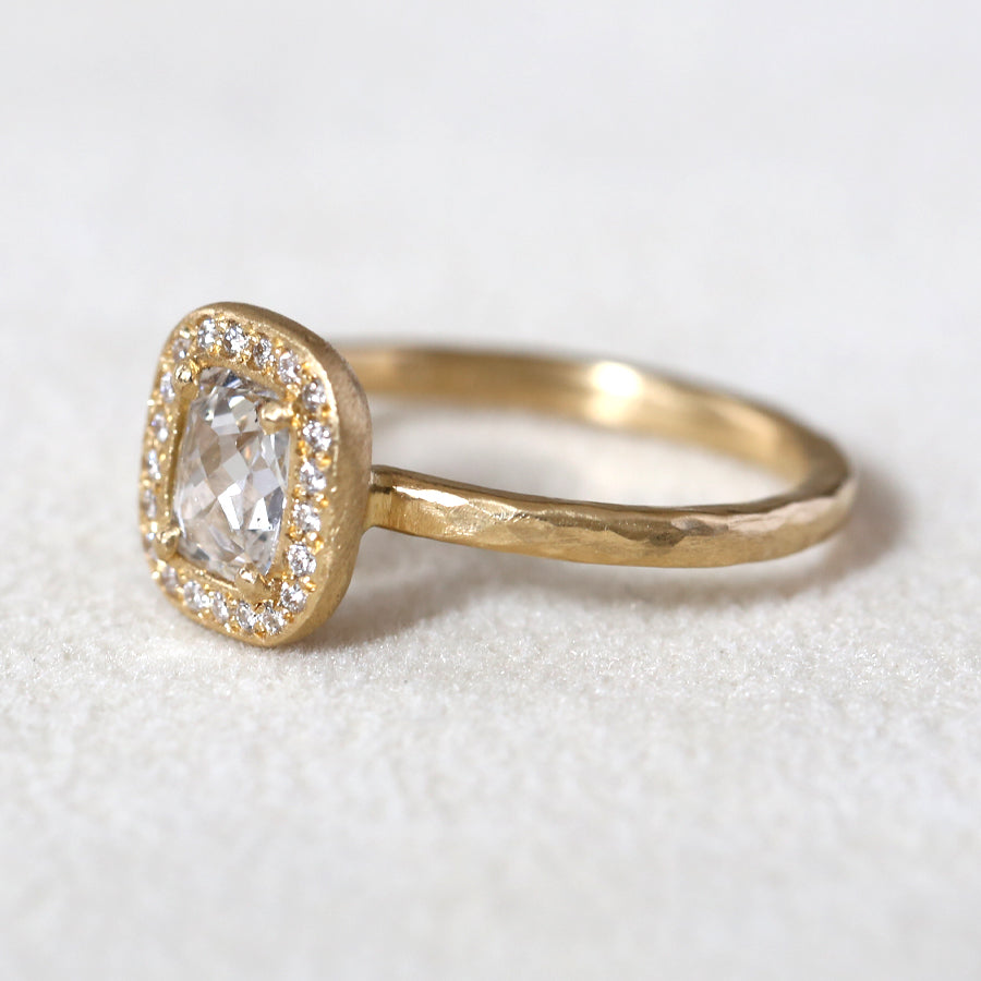 0.49ct colorless diamond halo ring