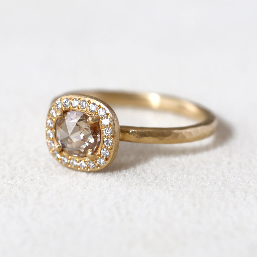0.58ct pink-brown diamond halo ring