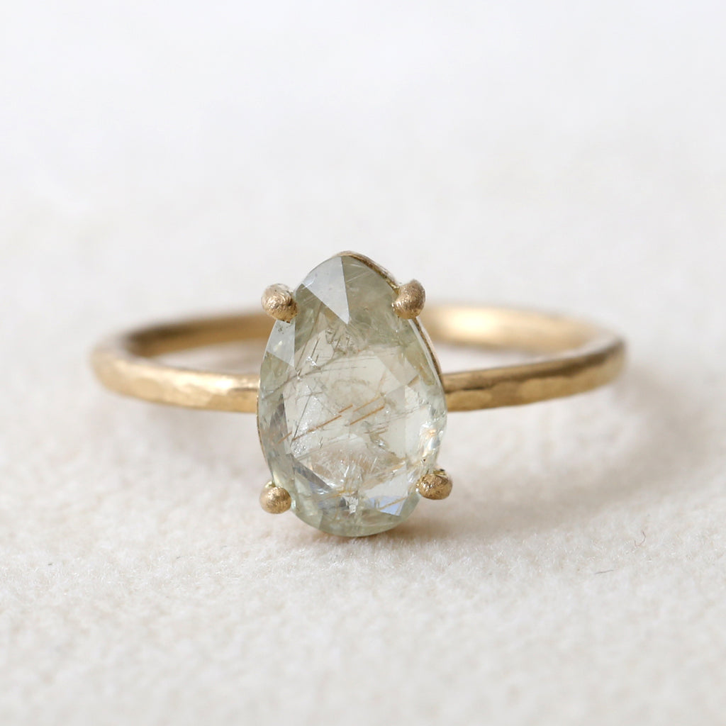 2.06ct Pale Green Sapphire Ring