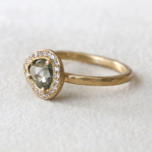 0.83ct green sapphire halo ring