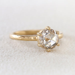 1.21ct rose cut diamond ring