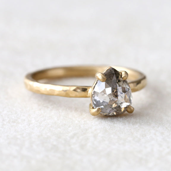 1.28ct salt & pepper diamond ring