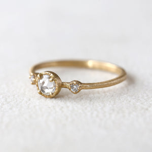 0.22ct Icy grey diamond Muguet Ring