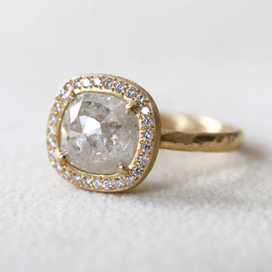 2.77ct Icy grey  diamond halo ring