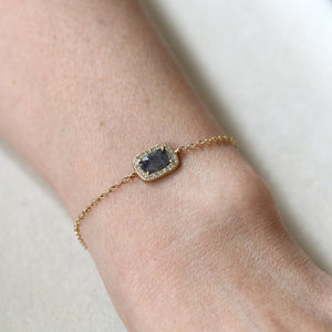 0.86ct grey diamond halo bracelet