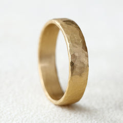 5mm 18k yellow gold band, hammered