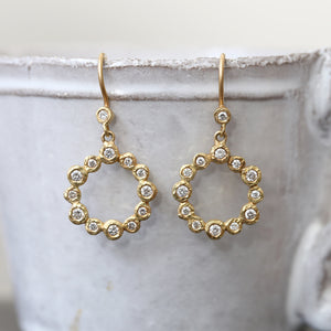 Diamond bezel circle earrings