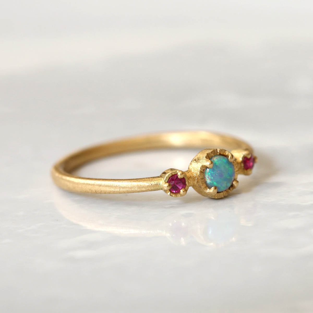 Opal Ruby trio ring