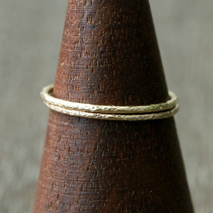 textured ring , set of 2
