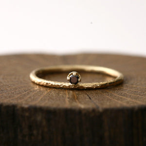 2mm black diamond textured ring