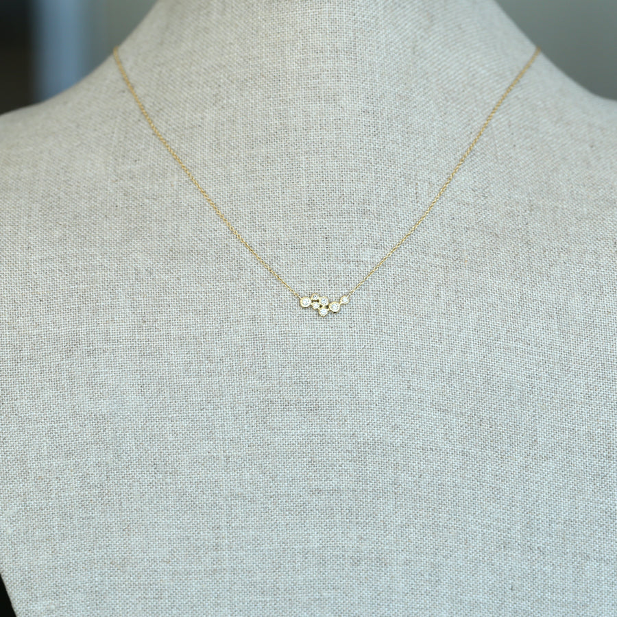 7 bezel cluster diamond necklace