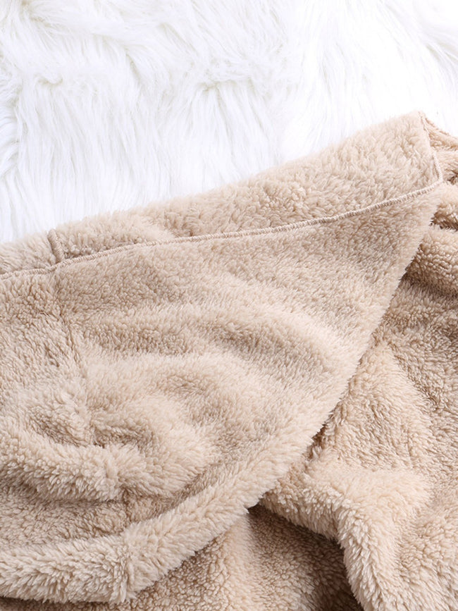 Fleece Fuzzy Casual Cashmere Pockets Long Sleeve Teddy Bear Coats