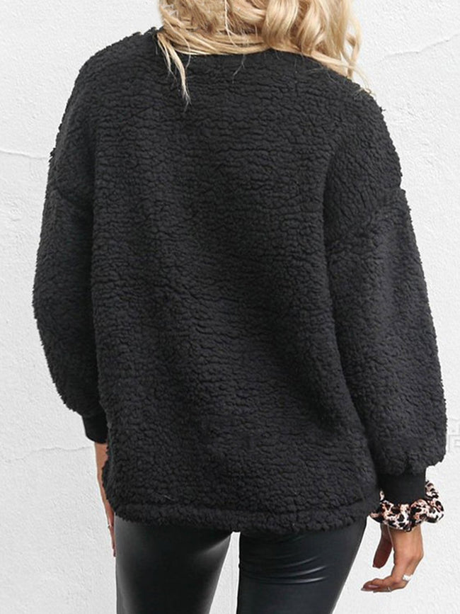 Crew Neck Sweet Paneled Solid Sweatshirts
