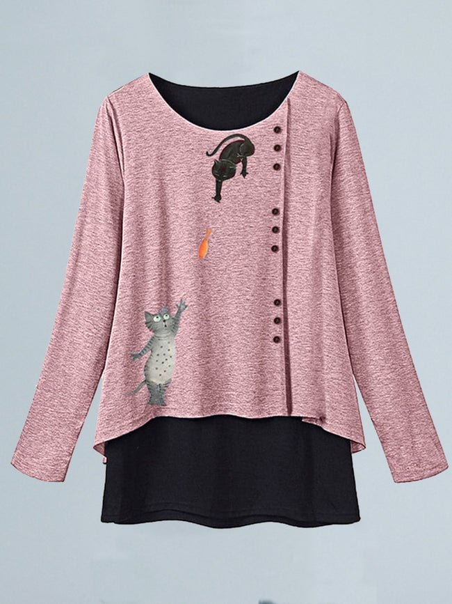Plus Size Long Sleeve Cute Printed Casual Tops