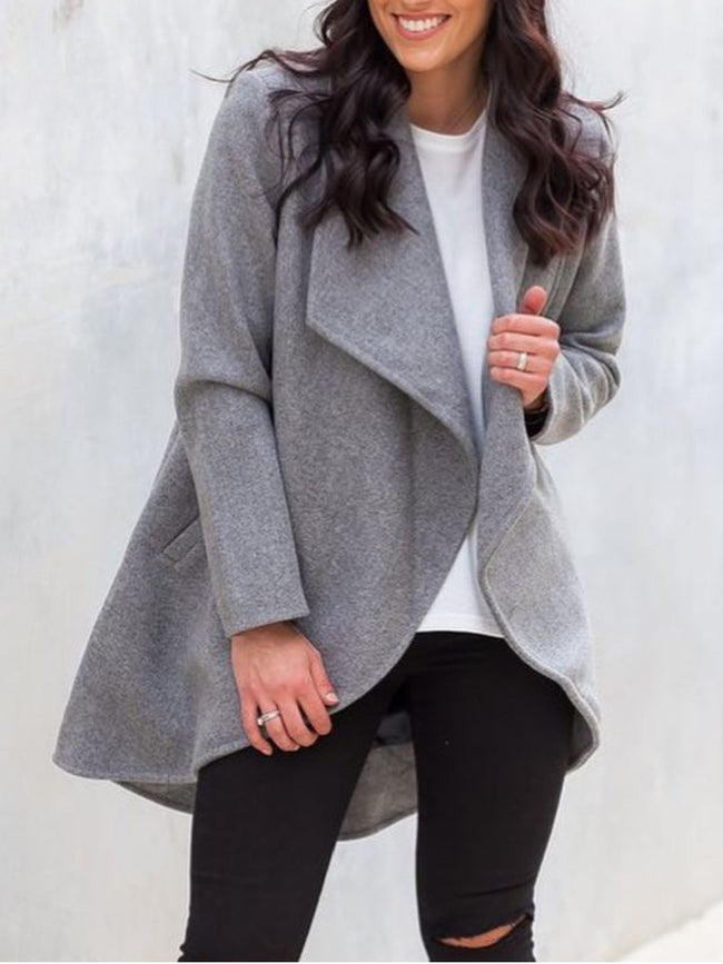 Plus Size Casual Solid Long Sleeve Outerwear