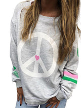 Crew Neck Printed Casual Geometric Sweatshirts