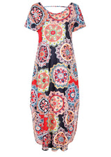 Mandala Printed Short Sleeve Maxi Dress