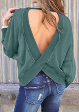 Solid Backless Long Sleeve Sweatshirt