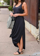 Solid O-Neck Sleeveless Maxi Dress