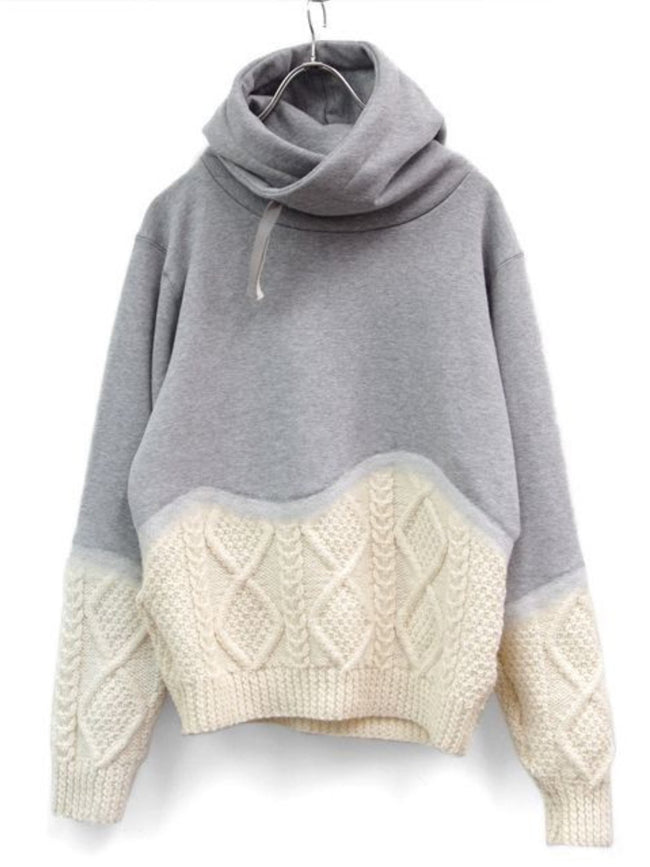 Hoodie Casual Knitted Paneled Shift Shirts & Tops