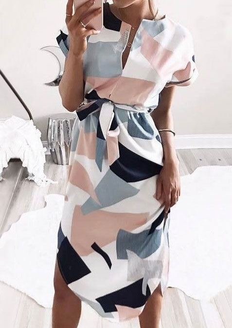 Geometric Printed Dress with Belt