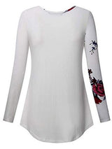Floral Long Sleeve Standard Fall Casual Women's T-Shirt